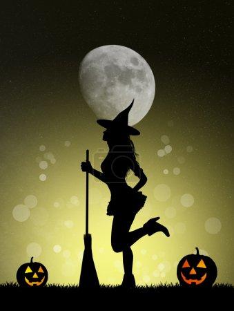 Photo pour Illustration de la silhouette de sorcière Halloween - image libre de droit