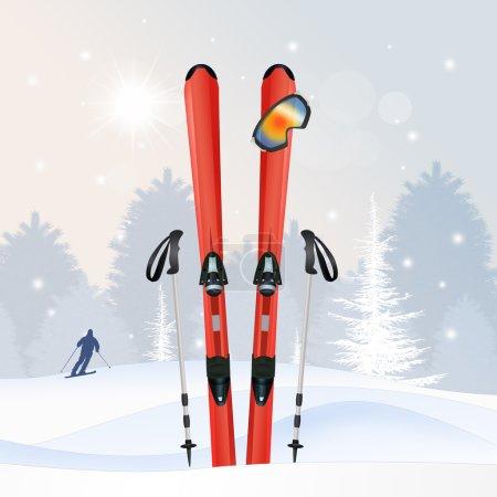 ski equipment in winter