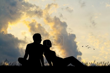 couple romantic couple at sunset