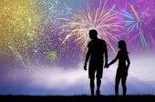 illustration of night fireworks