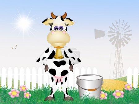 illustration of cow milking