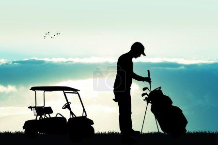 man play golf at sunset