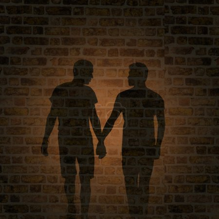 Shadow of two men on the wall