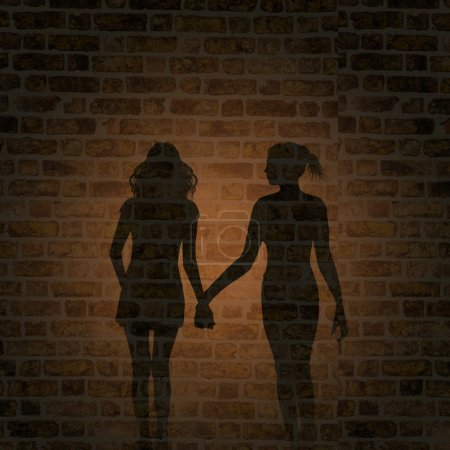 Shadow of two women on the wall
