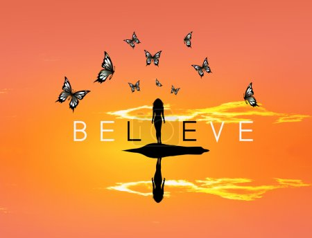 believe with butterflies sunset