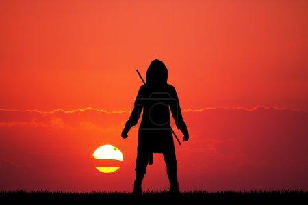 ninja silhouette at sunset