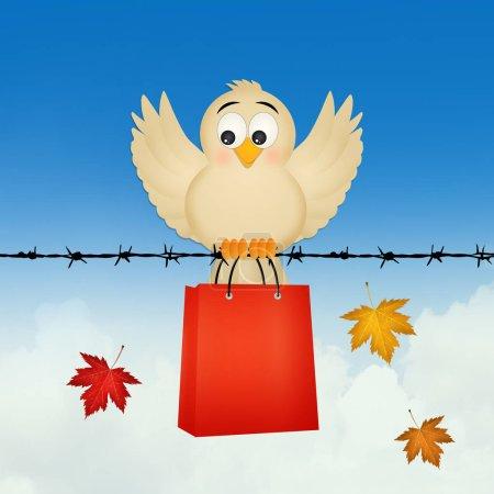 Photo for Illustration of bird go shopping - Royalty Free Image