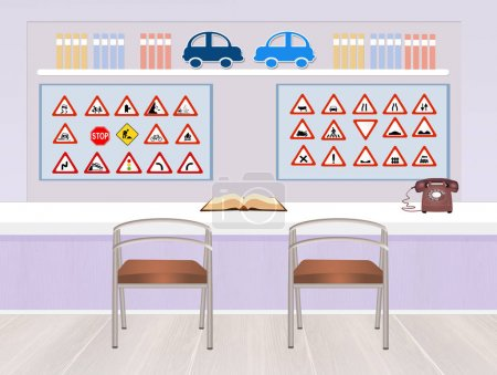 Photo for Illustration of driving school interior - Royalty Free Image
