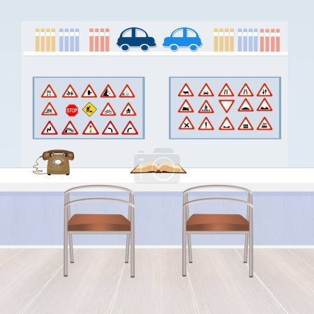 Photo for Cute illustration of driving school - Royalty Free Image