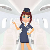 Hostess lány a repülőgép