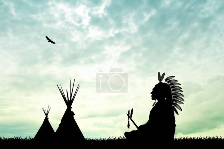 Photo for Illustration of Native American Indian - Royalty Free Image