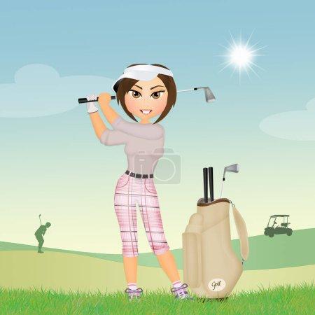 girl plays golf