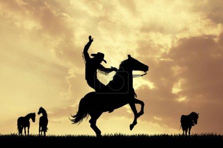 Photo pour Illustration de cow-boy de rodéo au coucher du soleil - image libre de droit