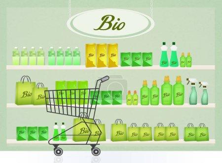 Photo pour Illustration de boutique de produits biologiques - image libre de droit