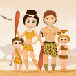 Illustration of cute prehistoric family...
