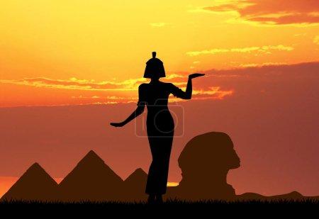 Photo pour Illustration de la Reine Cléopâtre en Egypte - image libre de droit