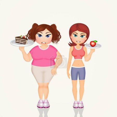 Overweight girl and skinny girl