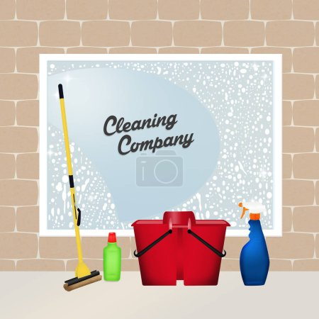 Photo for Cute illustration of cleaning service - Royalty Free Image