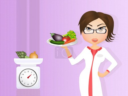 dietitian girl with vegetables