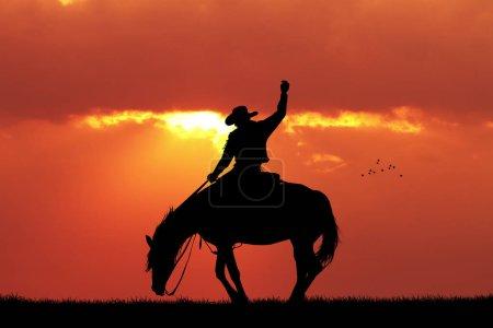 Photo pour Illustration de la silhouette de cow-boy de rodéo au coucher du soleil - image libre de droit