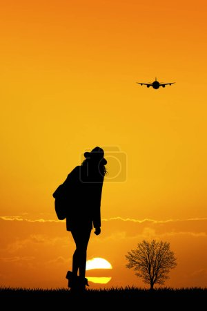 Photo for Illustration of girl traveling at sunset - Royalty Free Image