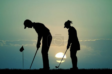 golfer silhouette at sunset
