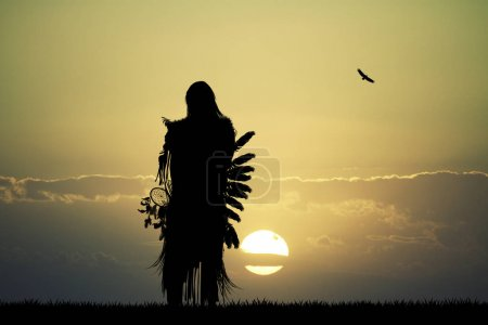 Native American Indian at sunset