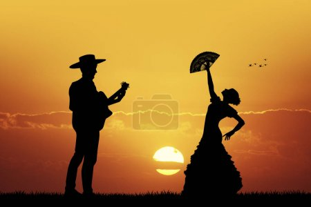 Photo for Illustration of flamenco dancer anf guitarist - Royalty Free Image