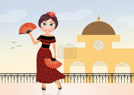 Photo pour Illustration de fille espagnole dansant Flamenco - image libre de droit