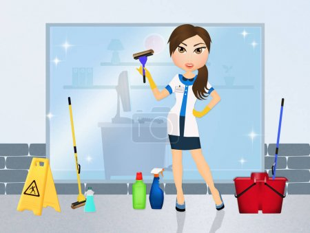 Photo for Illustration of woman cleans windows - Royalty Free Image