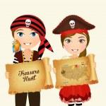Cute illustration of treasure hunt...