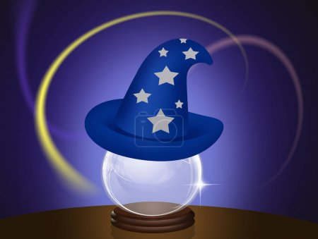 Magician hat on crystal ball
