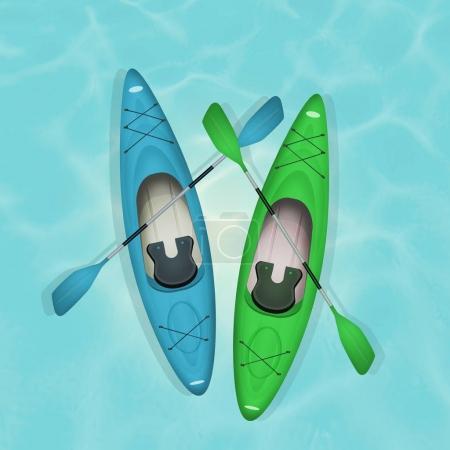 two kayaks and paddle