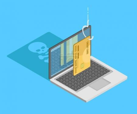 Concept of phishing and steel personal data. Credit car on hook with laptop drop skull shadow. Isometric flat vector illustration