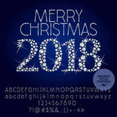 Vector sparkling Merry Christmas 2018 Greeting Card with set of Alphabet letters symbols numbers Silver Font contains Graphic Style