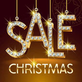 Vector Luxury Christmas Sale Banner for Jewelry Shop Brilliant set of Alphabet Letters Symbols and Numbers Golden Font with Graphic style