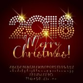 Vector shiny Merry Christmas 2018 Greeting Card with calligraphic Alphabet set of Letters Symbols and Numbers