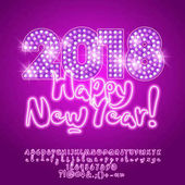 Vector light up disco Happy New Year 2018 Greeting Card with Neon Alphabet set of Letters Symbols and Numbers