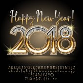Vector rich shiny greeting card Happy New Year 2018 Luxury set of golden Calligraphic Alphabet Letters Numbers and Punctuation Symbols