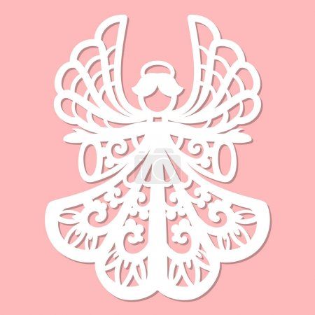 Illustration for A template for laser cutting.Design elements for holiday cards. - Royalty Free Image