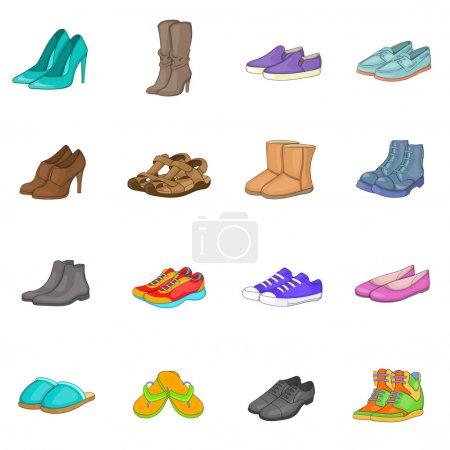 Shoe icons set in cartoon style. Men and women sho...