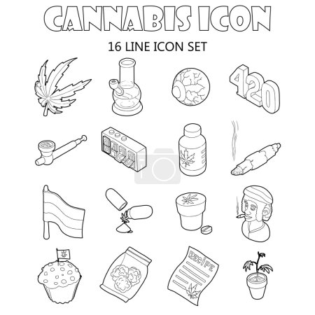 Illustration for Cannabis icons set in cartoon style. Marijuana smoking equipment set collection vector illustration - Royalty Free Image