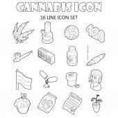 Cannabis icons set cartoon style