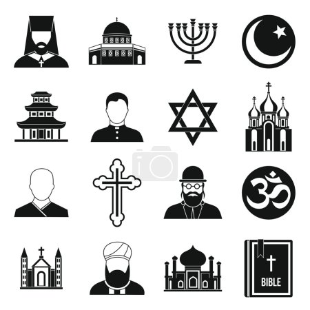 Illustration for Religious symbol icons set in simple style. World religions and badges set collection vector illustration - Royalty Free Image