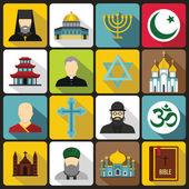 Religious symbol icons set flat style