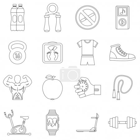 Fitness icons set, outline style