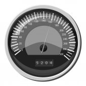 Speedometer at 160 km in hour icon Gray monochrome illustration of speedometer at 160 km in hour vector icon for web