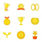 Victory icons set Cartoon illustration of 9 victory vector icons for web
