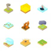 Natural accident icons set Cartoon illustration of 9 natural accident vector icons for web