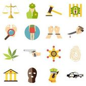 Crimonal icons set cartoon style